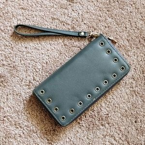 Gray clutch wallet with handle